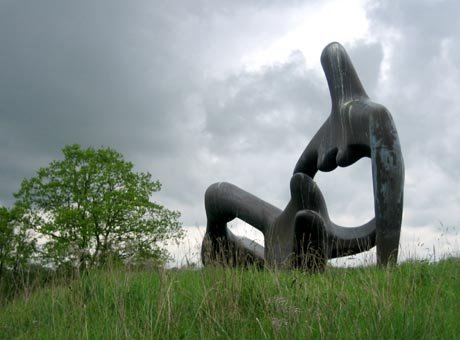 Henry Moore's 'Large Reclining Figure' on display at Perry Green