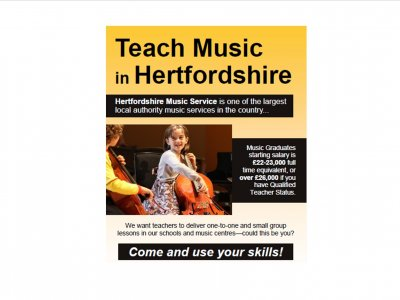 Teach Music in Hertfordshire - Herts Music Service