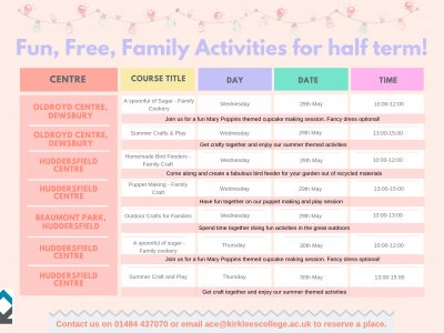 Free Half Term Family Courses