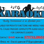 david spencer / karaoke /dj and event organise for pubs ,private functions
