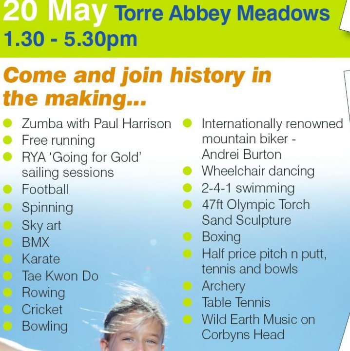 Sunday May 20th Torch Relay Celebration Torre Abbey Meadows...