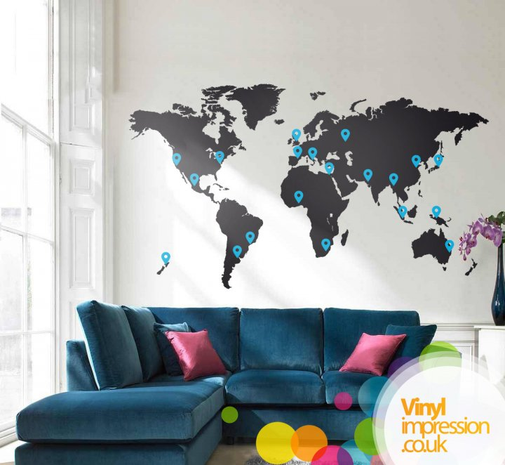 Large World Map For Wall Creatives Across Sussex / Media / Images / vinylimpression  Large World Map For Wall